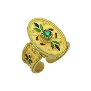Emerald 18k Yellow Gold Enamel Flowers Oval Cuff Band Ring