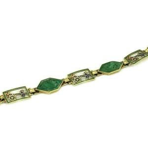 Jade Multi-Color Enamel 14k Gold Open Fancy Link Bracelet
