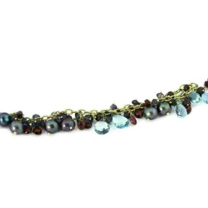 Estate 14k Yellow Gold Pearls Multicolor Gems Lariat Beaded Necklace