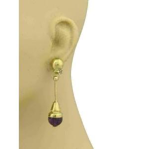Estate Amethyst & 14k Yellow Gold Long Drop Dangle Earrings