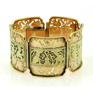 Estate 14k & 22k Two Tone Gold 37mm Wide Link Intricate Design Bracelet