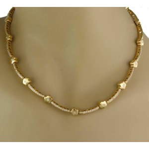 Estate 1.00ct Diamond 18k Yellow Gold Bar & Floral Link Necklace