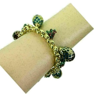 Tiourlo Diamond Gems & Enamel 18k Yellow Gold Egg Charms Chain Bracelet