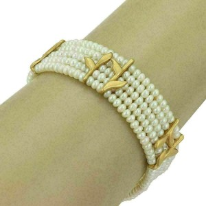 H.Stern Diamond Pearls 5 Strands 18k Gold Leaf Choker Necklace Bracelet Set