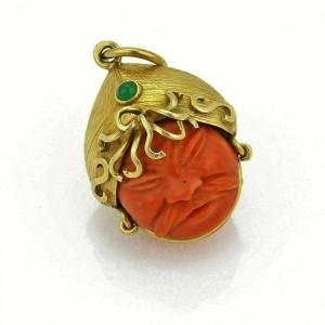 Vintage 18k Gold Emerald & Carved Coral Double Side Face Oriental Warrior