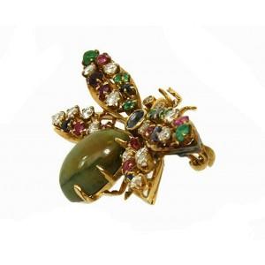 Vintage 14k Yellow Gold Diamond & Multi-Color Gems Jade Winged Bug Brooch