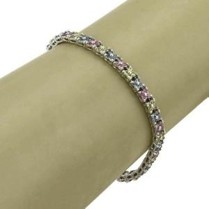 Pink Blue & Yellow Sapphire 18k White Gold Star Link Tennis Bracelet