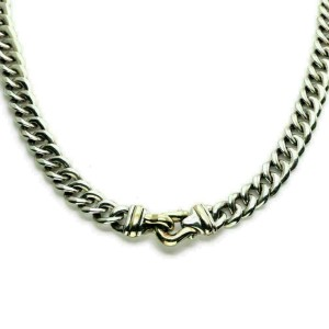 "David Yurman Sterling 14k Gold Double Hook Station Curb Link Chain 34"" Long"