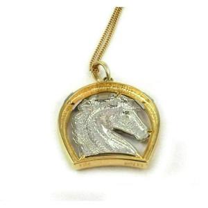 Platinum Diamond & 18k Yellow Gold Horse & Horse Shoe Frame Pendant & Chain
