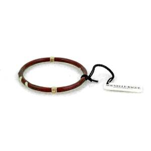 Nouvelle Bague Diamond Red Enamel 18k Gold/Sterling Bracelet NWT