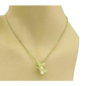 Carrera y Carrera Diamond Ruby Pearls 18k Gold Double Swan Pendant Necklace