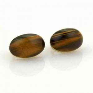 Roberto Coin 1.25ct Diamonds Tiger's Eye 18k Yellow Gold Oval Earrings