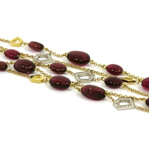 Ron Hami Diamond Pink Tourmaline 5 Strands 18k Gold Toggle Clasp Bracelet
