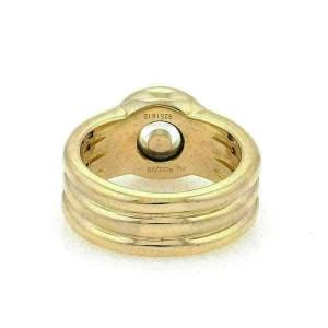 Chopard Happy Diamond 18k Yellow Gold Diamond Bezel Ribbed Band Ring