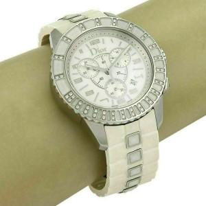 Christian Dior Stainless Steel White Rubber Diamond Bezel Watch