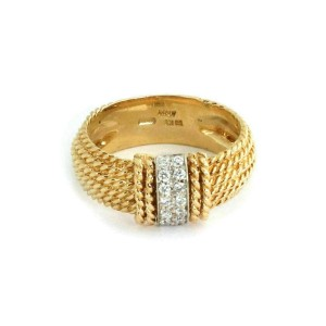 Roberto Coin Diamond 18k Yellow Gold 6 Row Cable Wire Band Ring