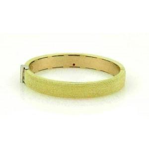 Roberto Coin 18k Two Tone Gold Diamond Wide Textured Bangle Bracelet