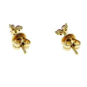 Auth EF Collection 14K Yellow Gold 0.26 CT Pink Sapphire Trio Earrings $450
