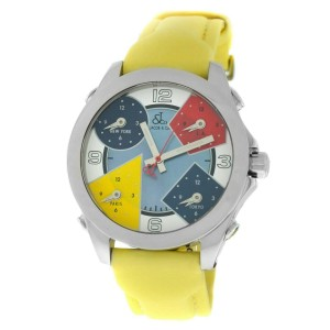 Jacob & Co. Five 5 Time Zone JCM-7 MOP Stainless Steel 40MM Watch Yellow Strap