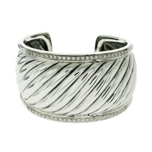Authentic David Yurman 925 Sterling Silver Diamonds 40 mm wide Cable Bangle
