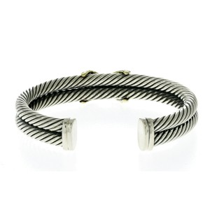 Auth David Yurman 925 Sterling Silver & 18K Gold Diamond Double Cable X Bangle