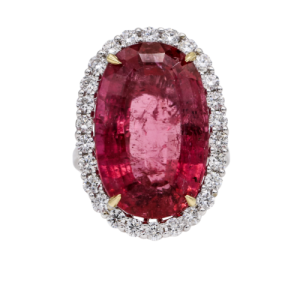 Women's Pink Tourmaline Ring with Diamond Halo in 18k White Gold