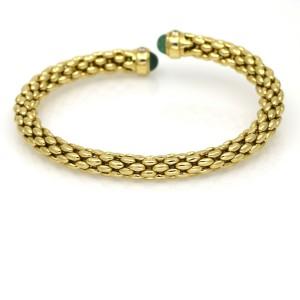 Emerald Diamond Cuff Bangle Bracelet in 18k Yellow Gold Signed WC