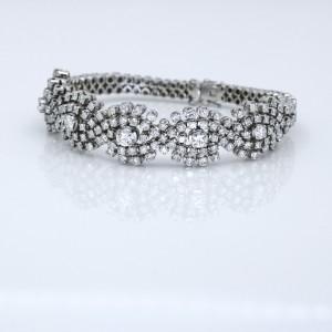 Mid-Century Diamond Statement Bracelet in 18k White Gold ( 10.00 ct tw )