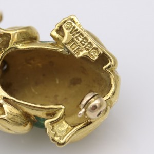 David Webb Small Frong Brooch in 18k Gold with Ruby Eyes