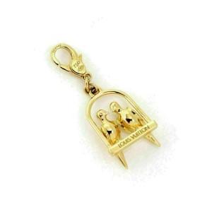 Louis Vuitton 18k Yellow Gold 2 Birds On Perch Dangle Charm Pendant