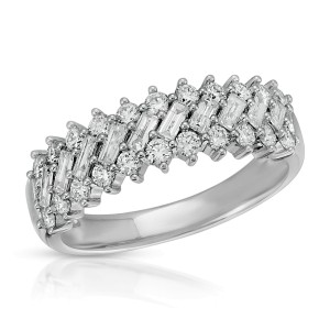 0.89 CT Round & Baguette Diamond In 14K White Gold Wedding Band Ring