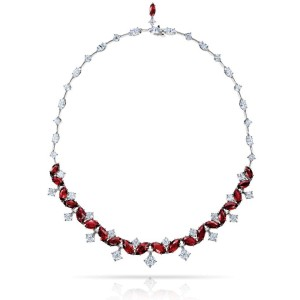 David Gross  Platinum  Ruby Necklace