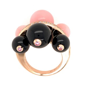 Cartier 18K Yellow Gold Diamond, Onyx, Ruby & Coral Ring