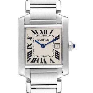 Cartier Tank Francaise Midsize 25mm Silver Dial Ladies Watch W51011Q3