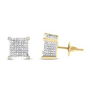 14K Yellow Gold 1.05ct. Diamond Bling Hip-Hop Earrings