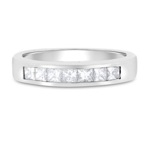 14k White Gold 0.75ct. Princess Cut Diamond Wedding Band Size 9