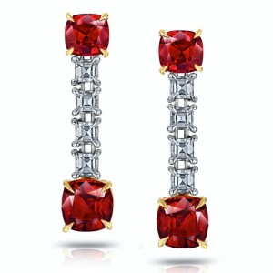 David Gross  Platinum  Ruby Earrings