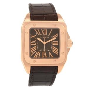 Cartier Santos 100 Steel Rose Gold Brown Dial Mens Watch W20127Y1