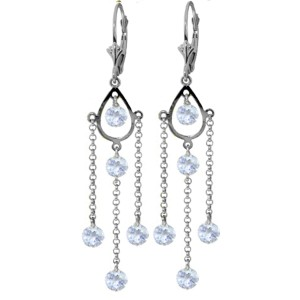 3 CTW 14K Solid White Gold Chandelier Earrings Natural Aquamarine