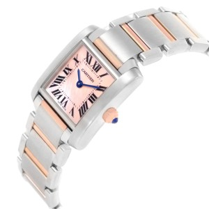 Cartier Tank Francaise Steel 18k Rose Gold MOP Ladies Watch W51027Q4