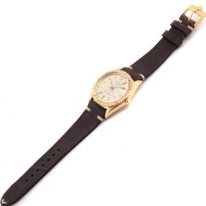 Rolex Turnograph Datejust Yellow Gold Brown Strap Vintage Watch 1625