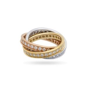 Cartier 18K White, Yellow and Rose Gold Diamond Trinity Ring
