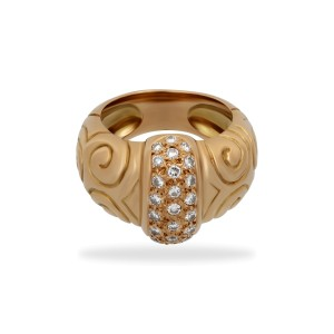 Estate Zolotas Greek 18K Yellow Gold Diamond Swirls Ring