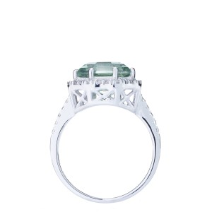 FARA Prasiolite and White Zircon Ring in Sterling Silver