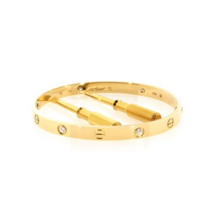 Cartier 18K Yellow Gold 4 Diamond Love Bracelet Size: 19cm