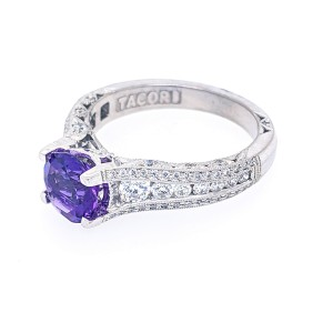 Tacori Crescent 18k White Gold 7.0mm Round Faceted Amethyst and Diamonds Ring