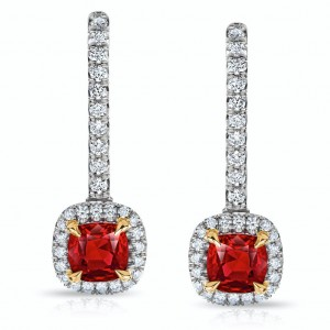David Gross  Platinum  Ruby Earrings