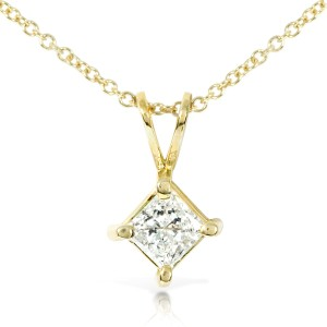 Diamond Solitaire Pendant 2/5 carat in 14K Gold - yellow-gold