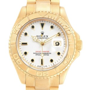 Rolex Yachtmaster 18K Yellow Gold White Dial Mens Watch 16628