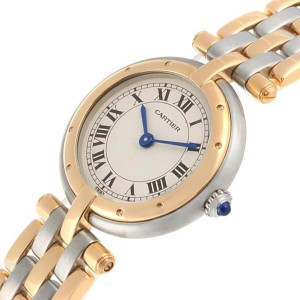Cartier Panthere Vendome Three Row Steel Yellow Gold Ladies Watch 166920